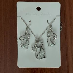 Cat Necklace and Earring Set NWOT
